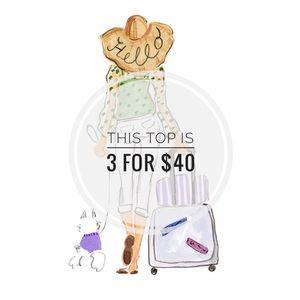 Socialite Tops - 3 FOR $40 •Socialite Striped Split Neck Tee • Sz S